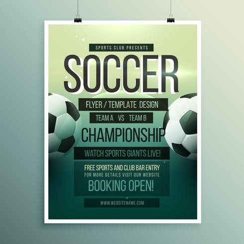 soccer tournament championship game flyer brochure template