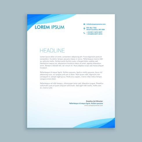 corporate blue wave letterhead  template vector design illustrat