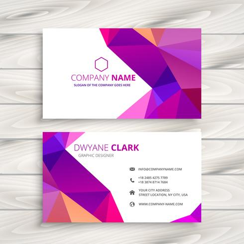 colorful low poly business card template vector design illustrat