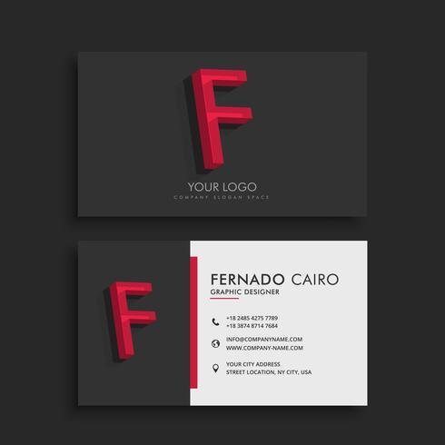 clean dark business card with letter F