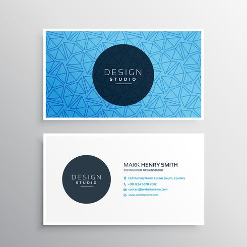 blue business card template with triangle patterns