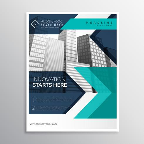 conception de modèle de brochure commerciale en couleur bleue