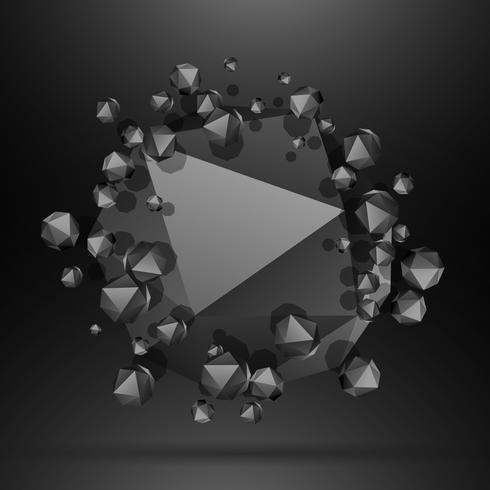 black polygonal particles background