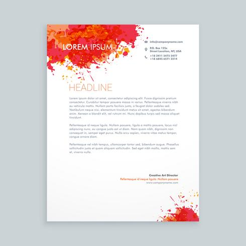 ink splash letterhead  template vector design illustration