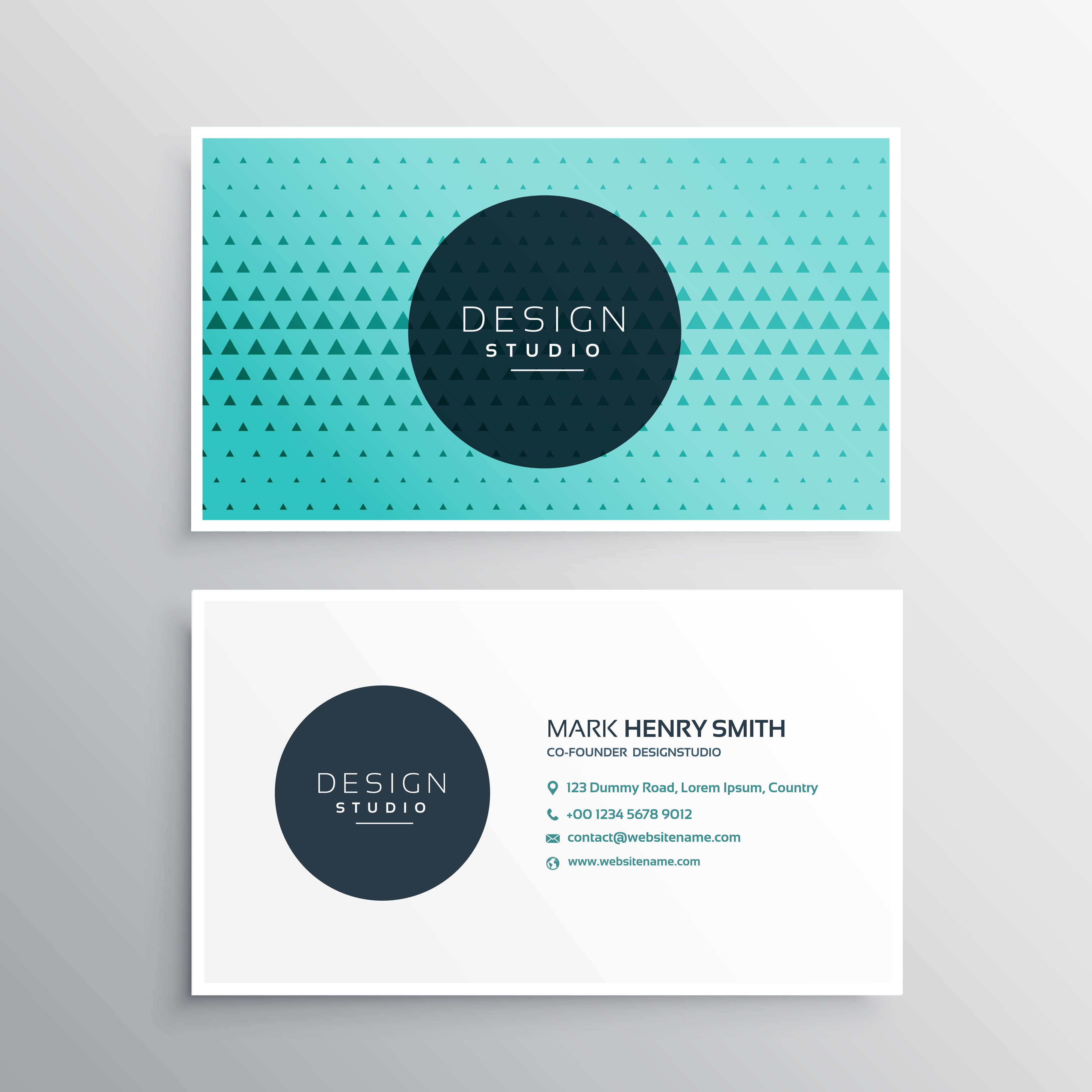 Elegant Business Card Template With Triangle Pattern Download Free