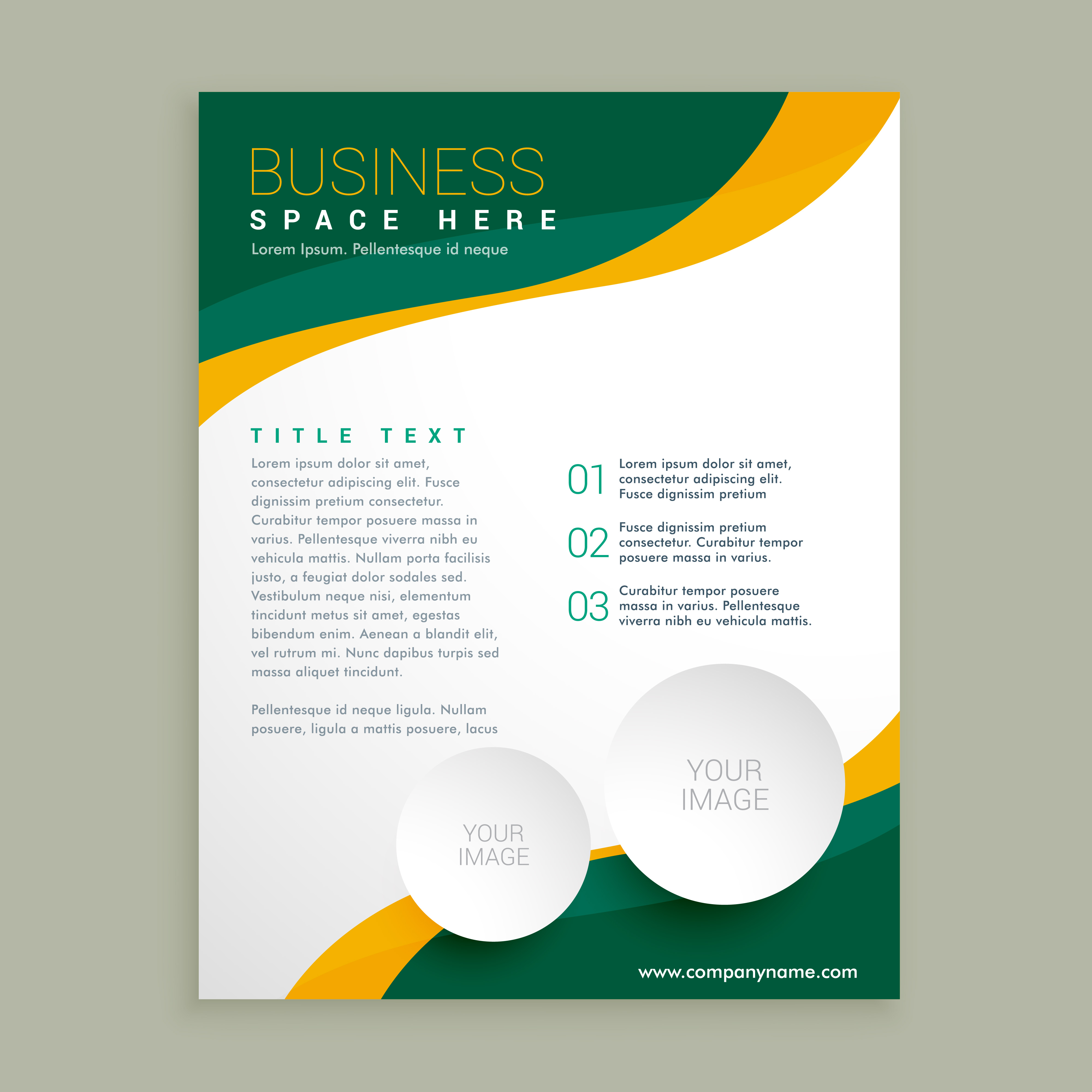 Green and yellow wavy shape business brochure flyer layout for Flyer and brochure templates