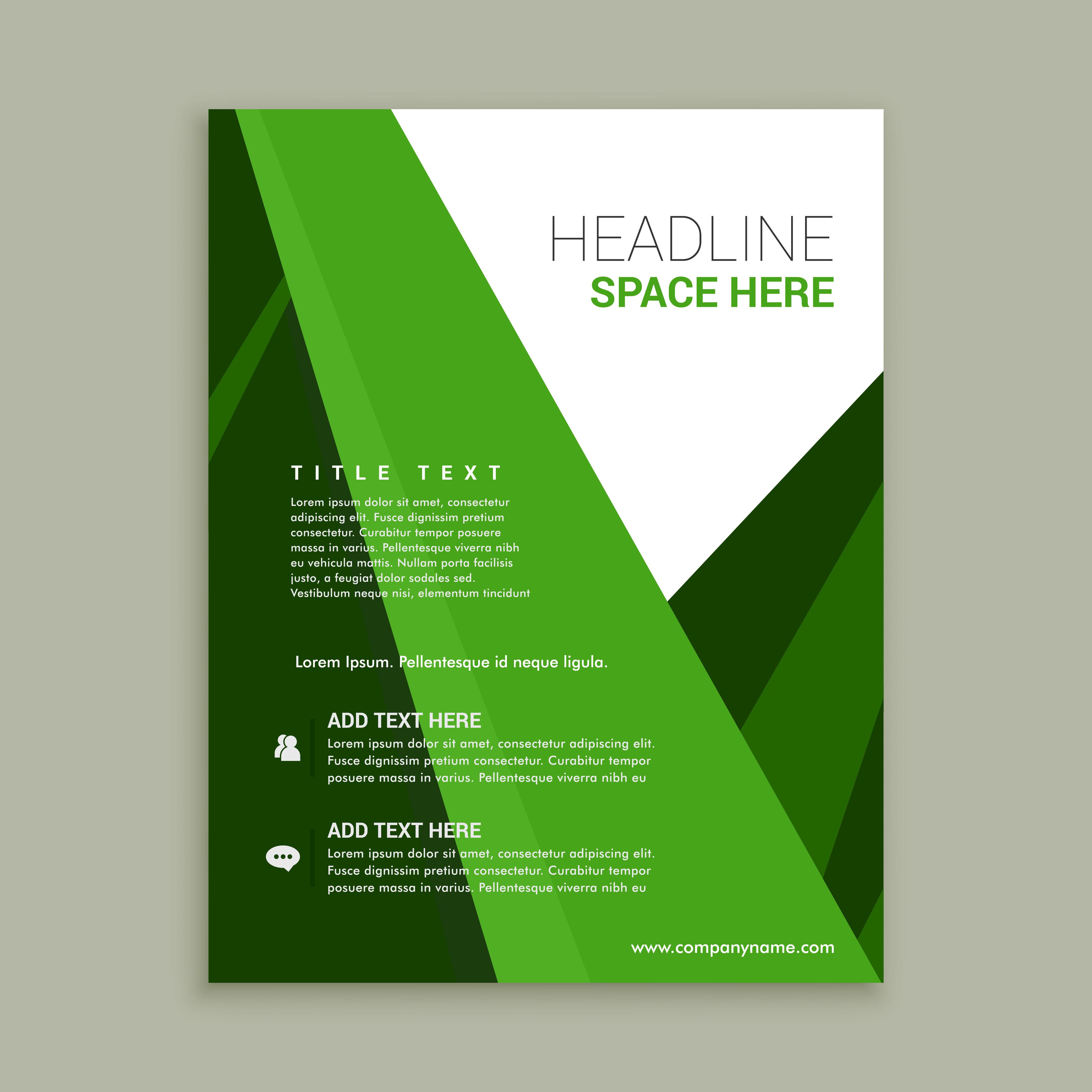 green brochure template - green color brochure flyer template download free vector