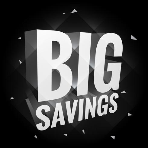 big savings poster in dark