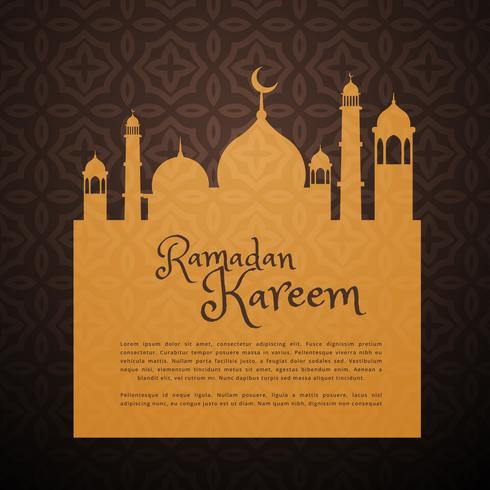 carte de voeux de ramadan avec la silhouette de la mosquée