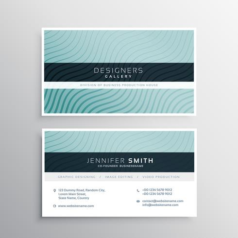 business card template with wavy lines patterns