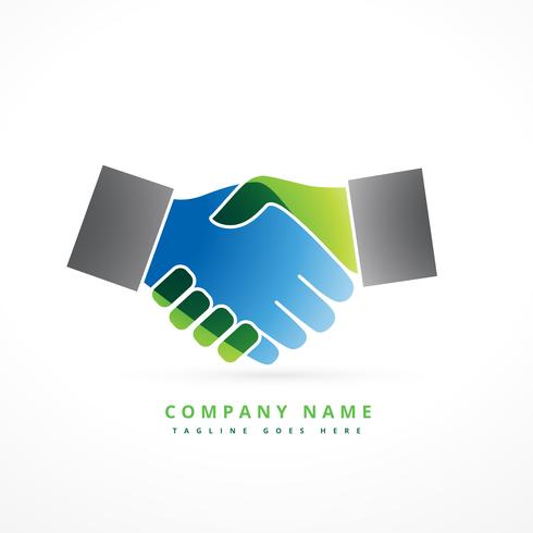 hand shaking colorful company symbol design