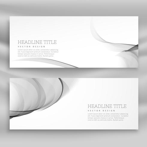 horizontal set of abstract wave banners template