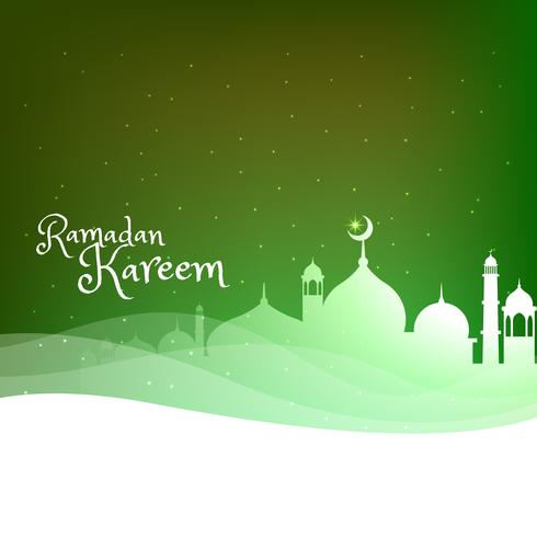 masjid silhouette on green background with wave