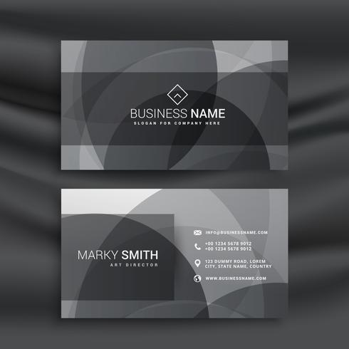 dark business card template with abstract circular shapes