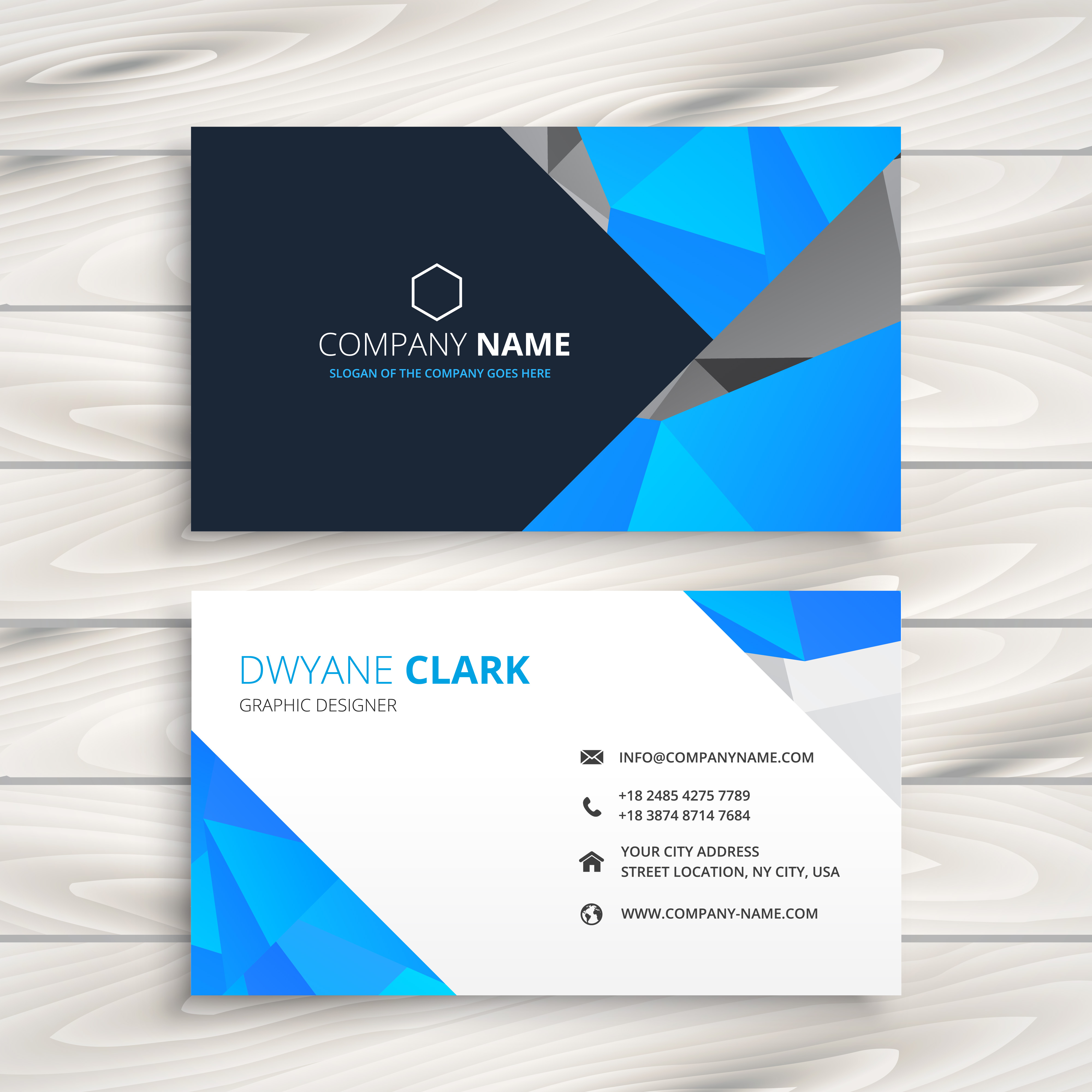 Blue Corporate Stationary Pack By Betty Design: Blue Abstract Business Card Template Vector Design
