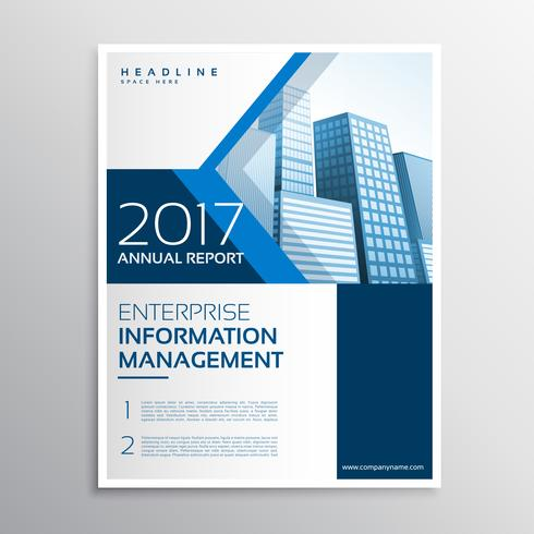 blue annual report brochure flyer template design with arrow sha