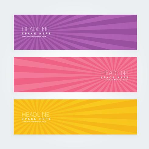 set of three abstract banners with rays