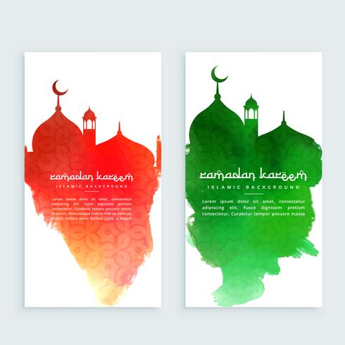 ramadan kareem colorful vertical banners