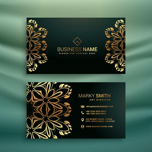 premium business card with golden floral design