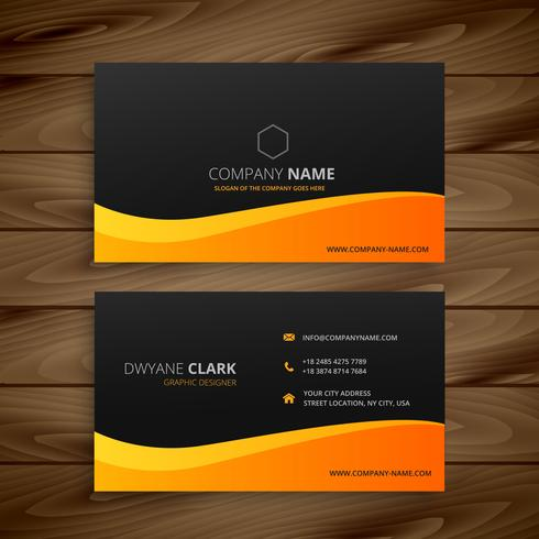yellow wave business card vector design illustration