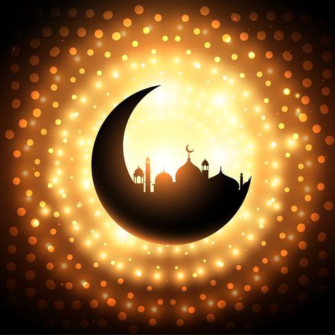 Fondo de forma de mezquita en fondo de brillo dorado