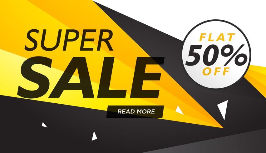 super sale yellow and black voucher design template