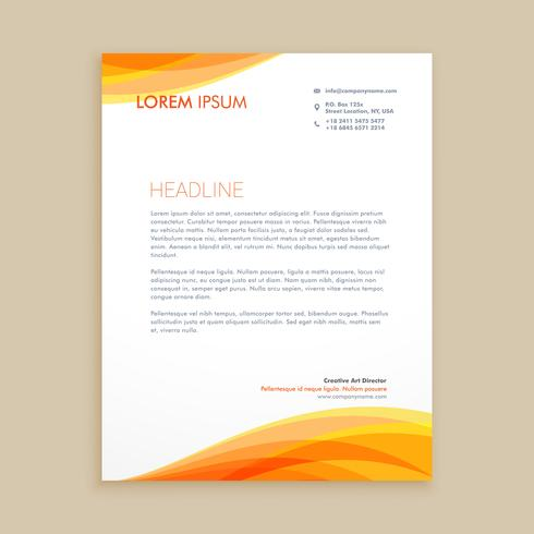 yellow wave creative letterhead template vector design illustrat