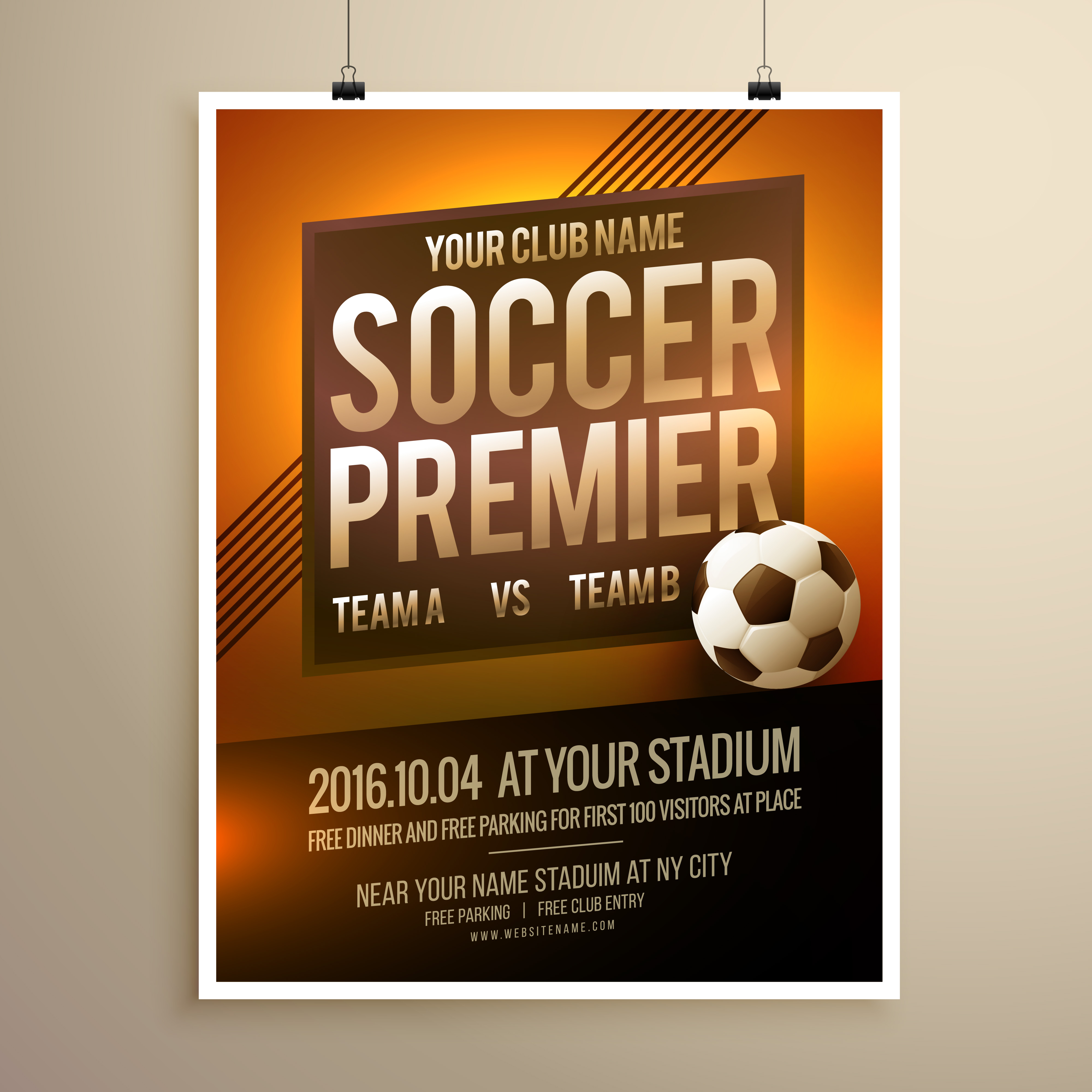 soccer sports flyer poster vector design template