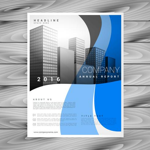 modern blue wavy company business brochure vector template