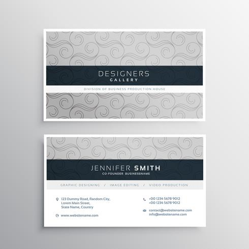 modern gray business card design with elegant pattern