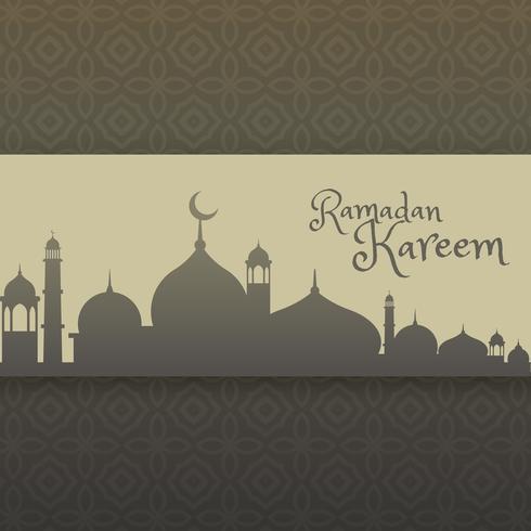 Ramadan Kareem Gruß mit Moschee Silhouette