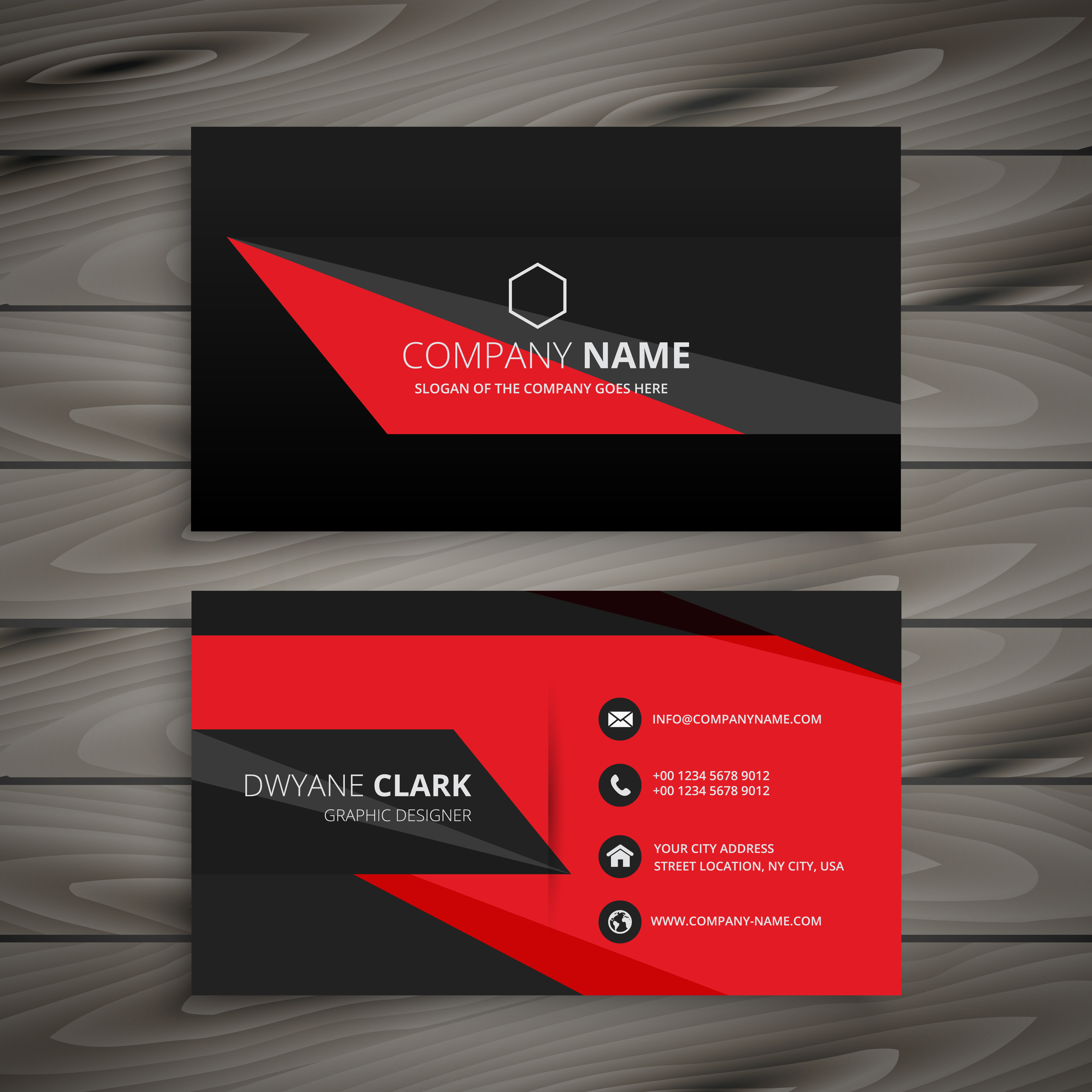 dark red black business card template vector design