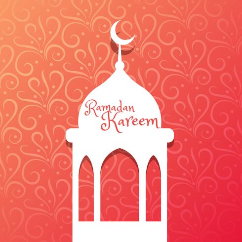 mosque design in beautiful floral background