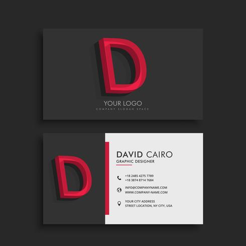 clean dark business card with letter D