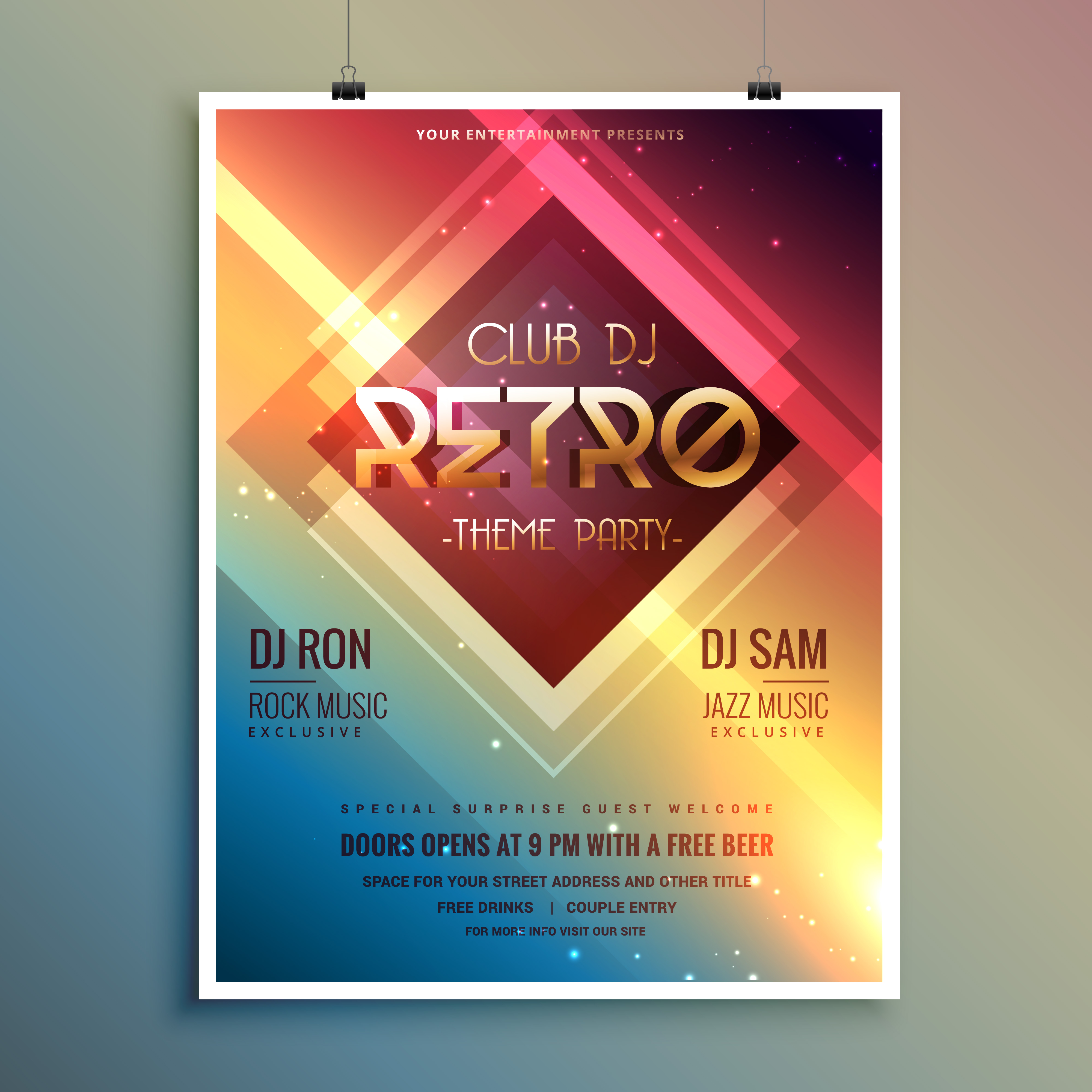 Retro Club Theme Party Flyer Template Download Free Vector Art