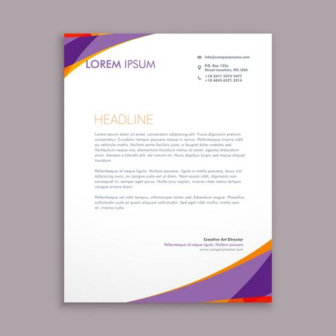 stylish purple wave letterhead  template vector design illustrat