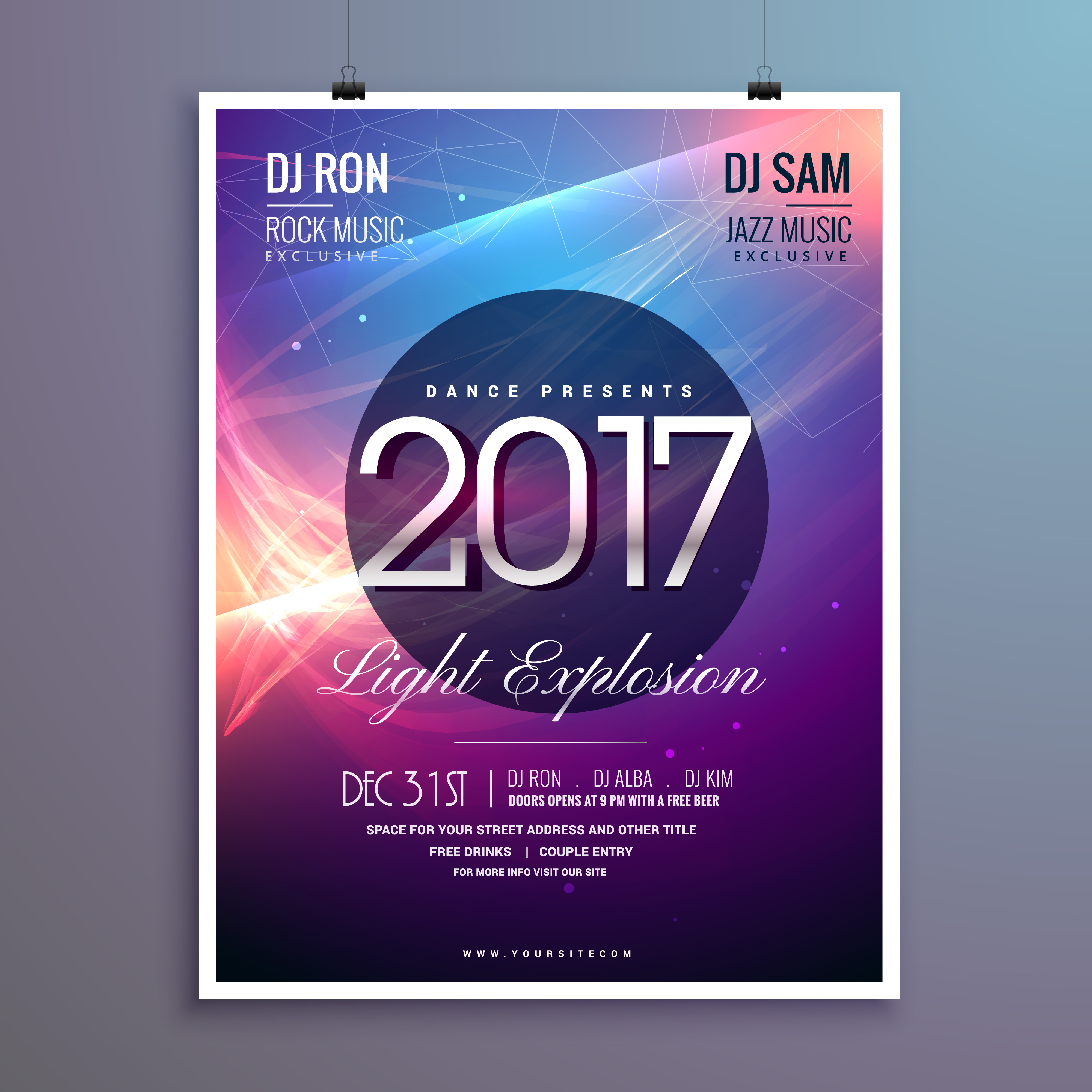 amazing 2017 happy new year party invitation template with abstr download free vector art stock graphics images