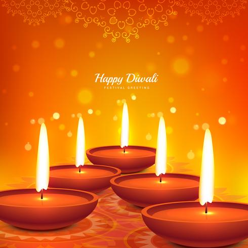 happy diwali vector diya design beautiful background