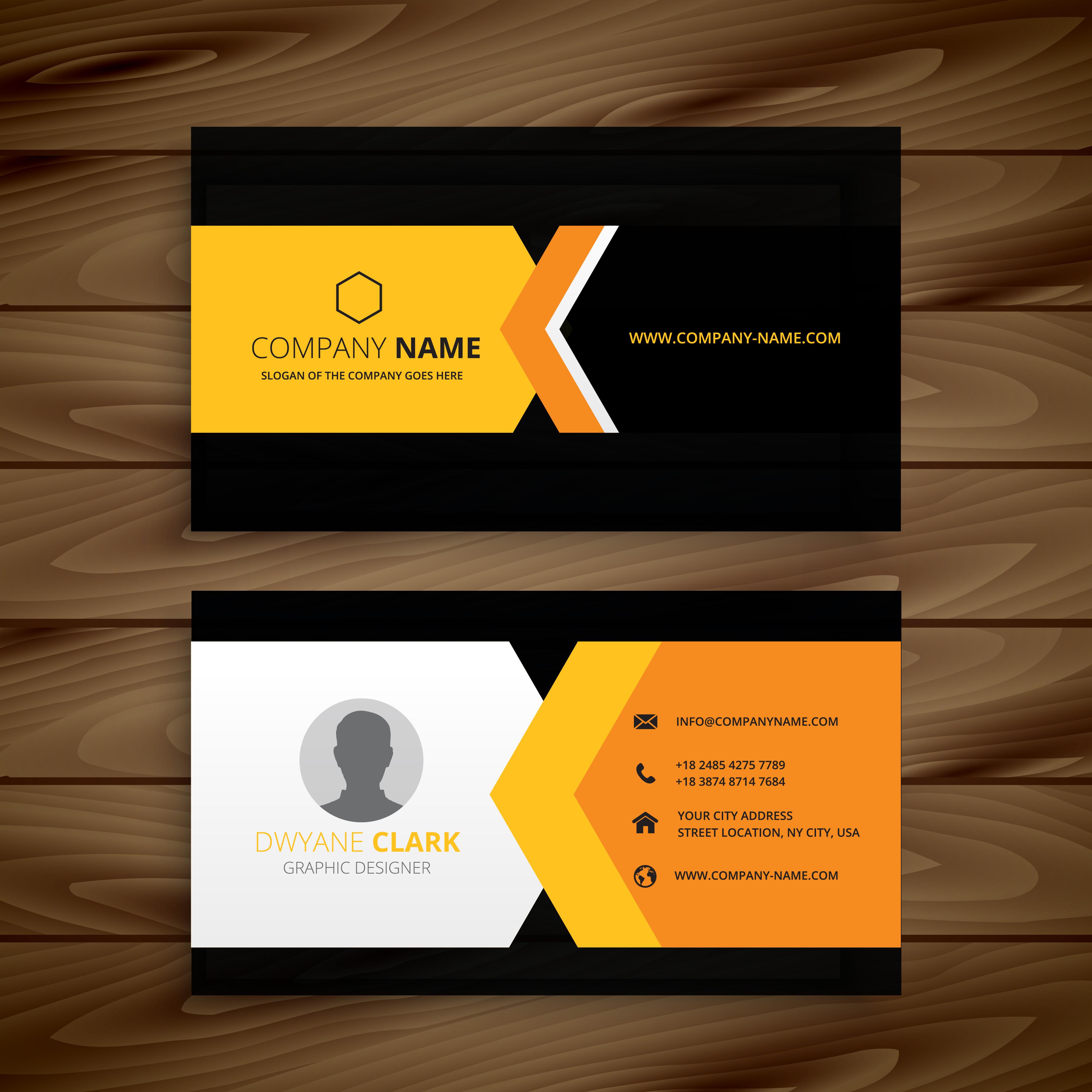 yellow black business card template vector design