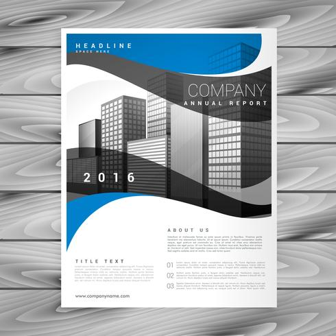 blue wavy stylish business brochure vector design in size A4