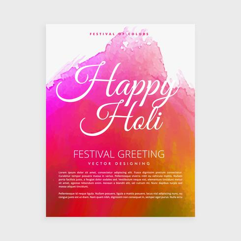 festival of colors. happy holi brochure