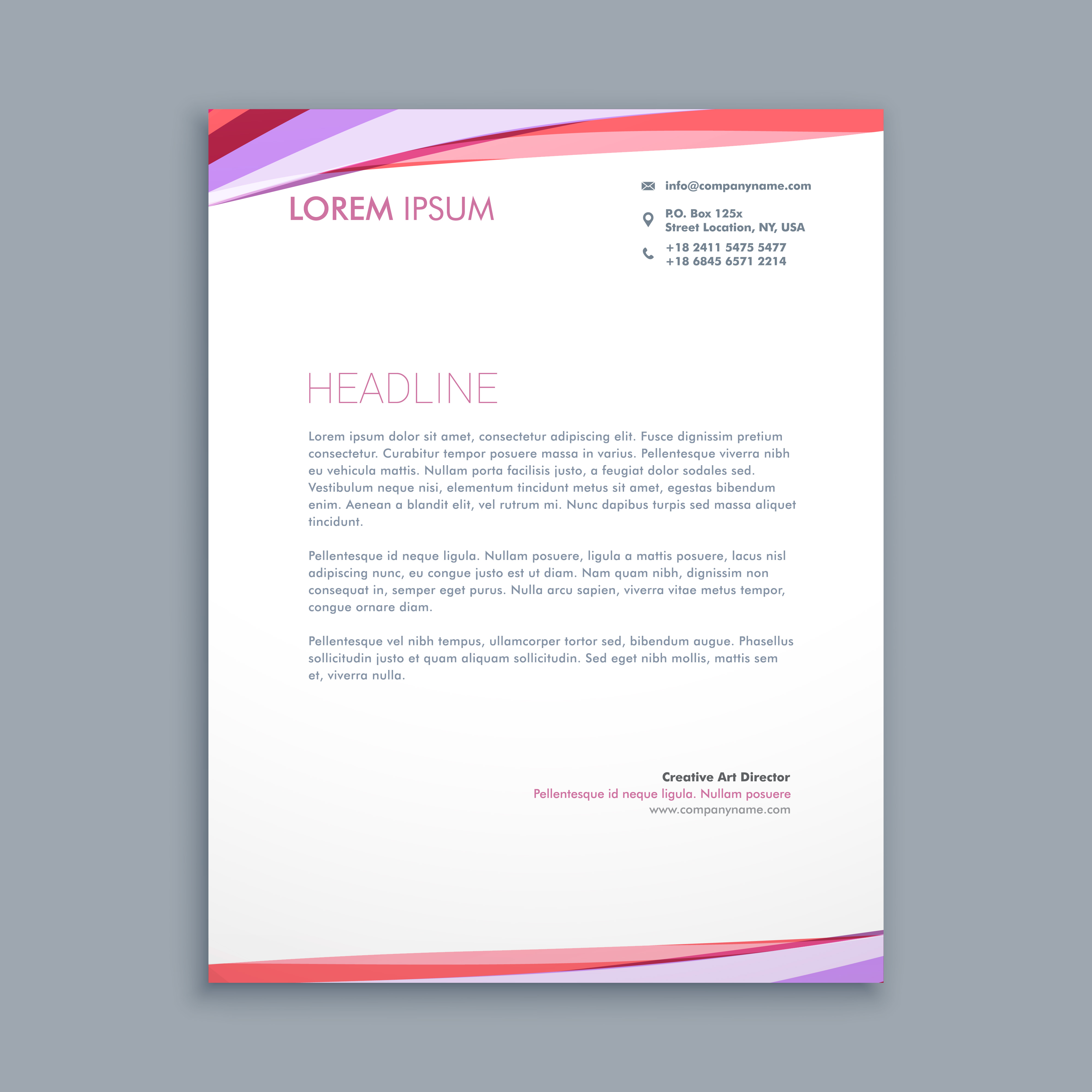 modern colorful letterhead template vector design