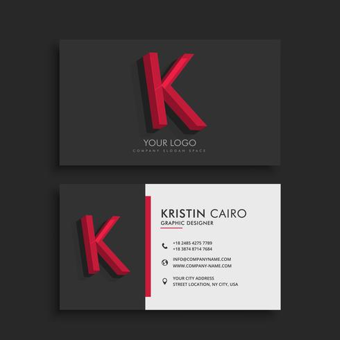 clean dark business card with letter K
