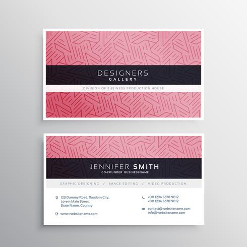 pink business card template stationery with abstract lines patte