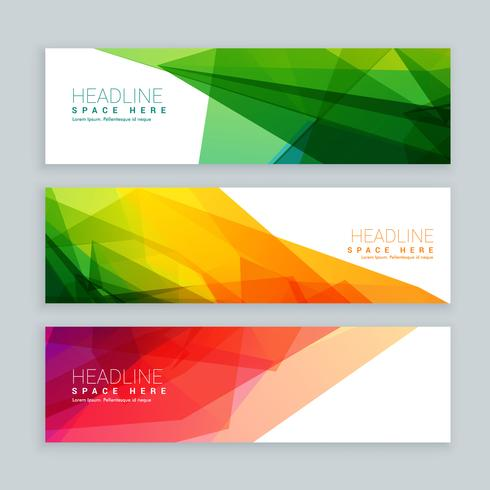 web banners template set in abstract colorful style