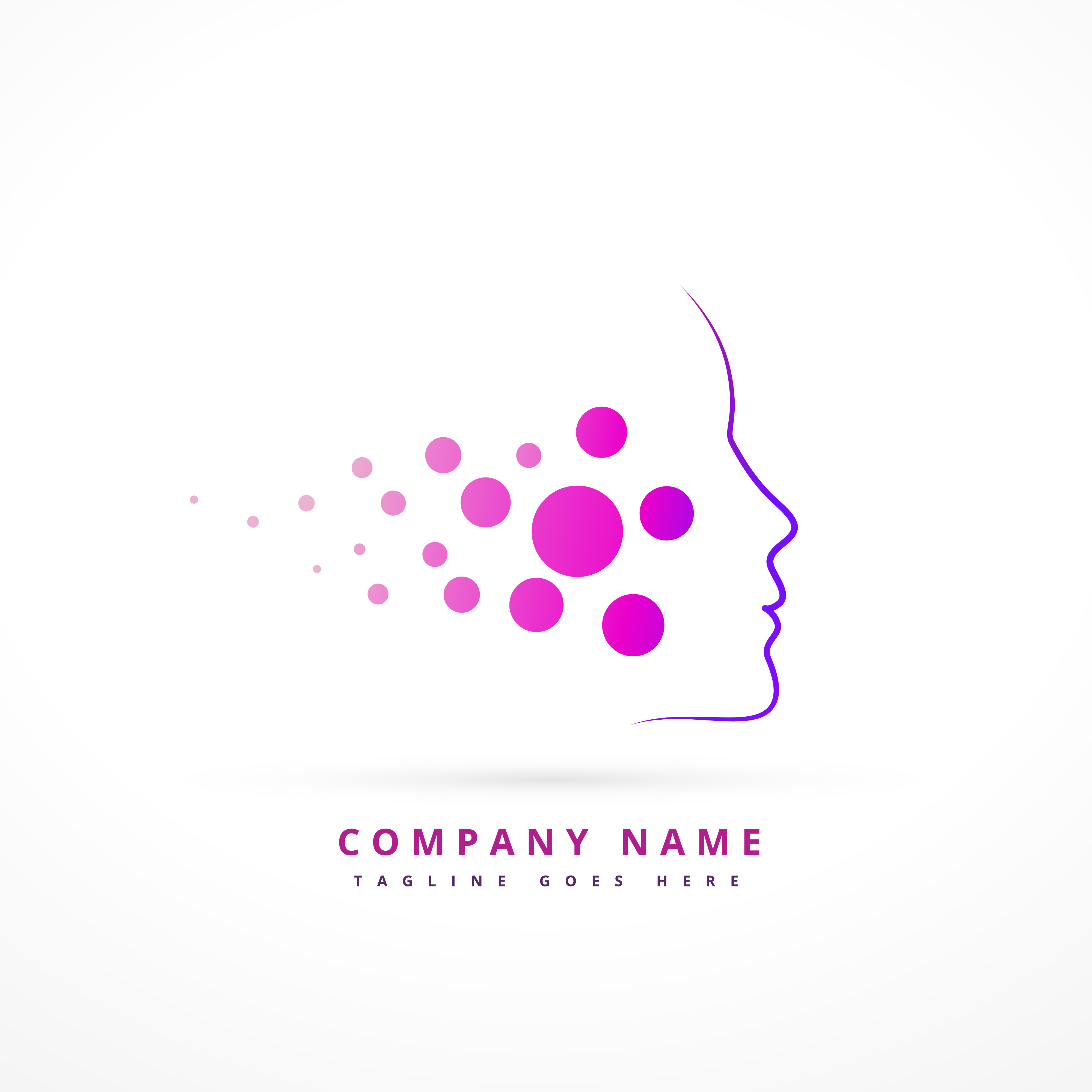 Gradient Abstract Company Logo Template: Skin Face Company Symbol Design Illustration