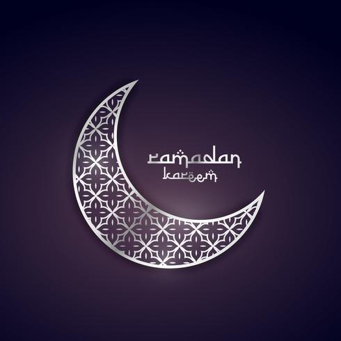 Ramadan kareem conception de voeux avec lune d'argent avec motif