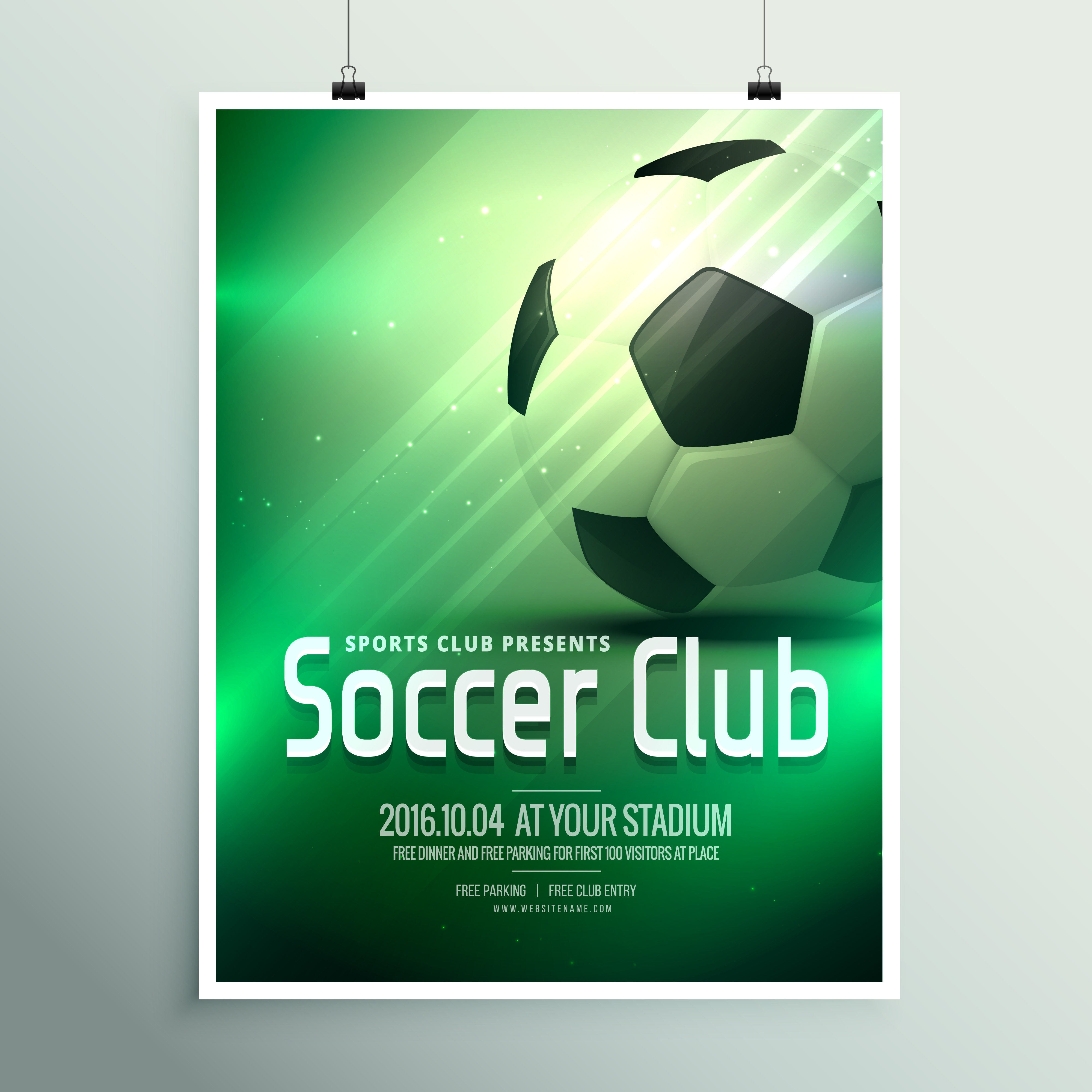 awesome sports flyer poster design template with football