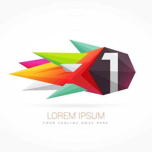 colorful abstract logo with number 1