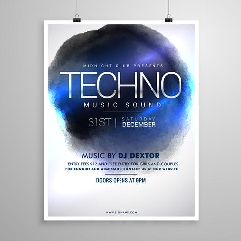 techno music flyer poster template